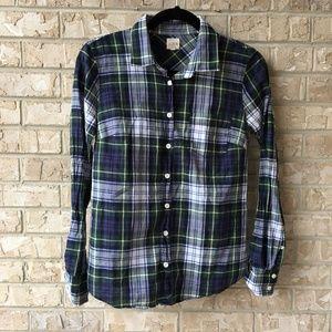 J Crew Plaid Button Down Shirt Perfect Fit XS